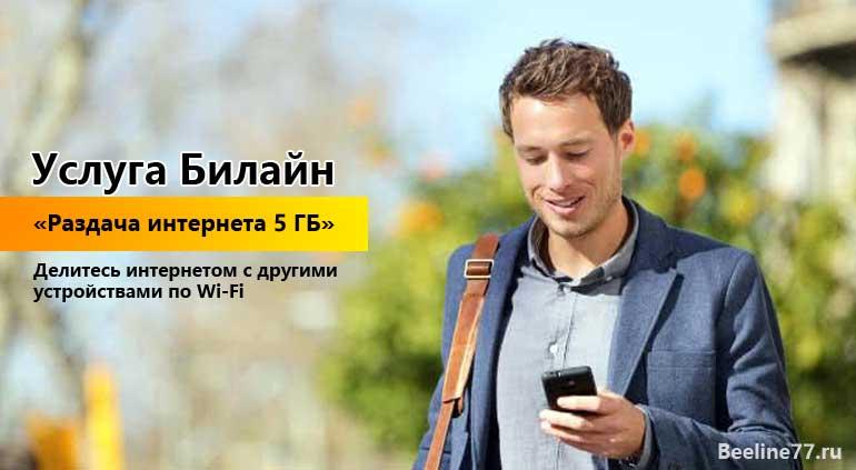 """Услуга Билайн """"Раздача интернета 5 ГБ"""""""